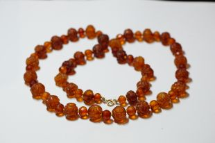 Antique Amber Necklace carved